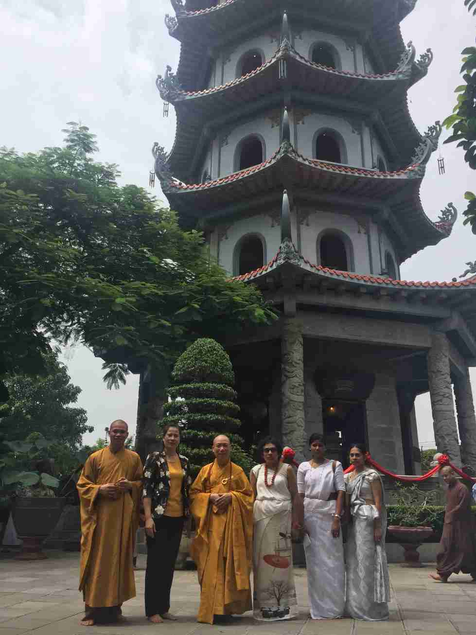 Image 04- Monks of the Bang Pagoda, Embassy Staff and Vice Chairperson of Hoang Mai District People's Committee, Ha Noi